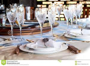 Beautiful Table Settings Pictures by Beautiful Table Setting With Crystal Glasses Stock Images