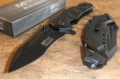 tactical pocket knives mtech rescue modified tanto black assisted open