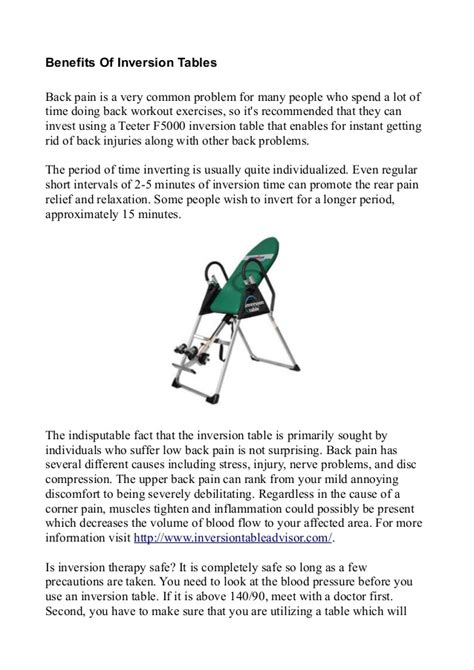 benefits of inversion tables