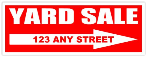 Custom Yard Sale Sign With Arrow Red Yard Sale Sign Yard Sale Signs Templates