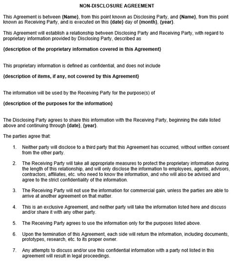 non disclosure contract template non disclosure agreement template