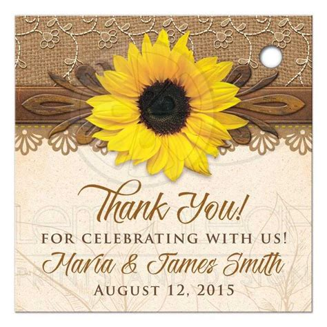 Rustic Sunflower Personalized Wedding Favor Tags Burlap Lace Wood