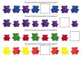 image pattern compare compare bear pattern cards by elmo001 teaching resources