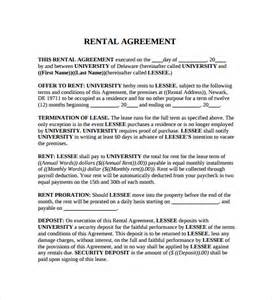 generic lease agreement template renters agreement rental agreement form template ms word