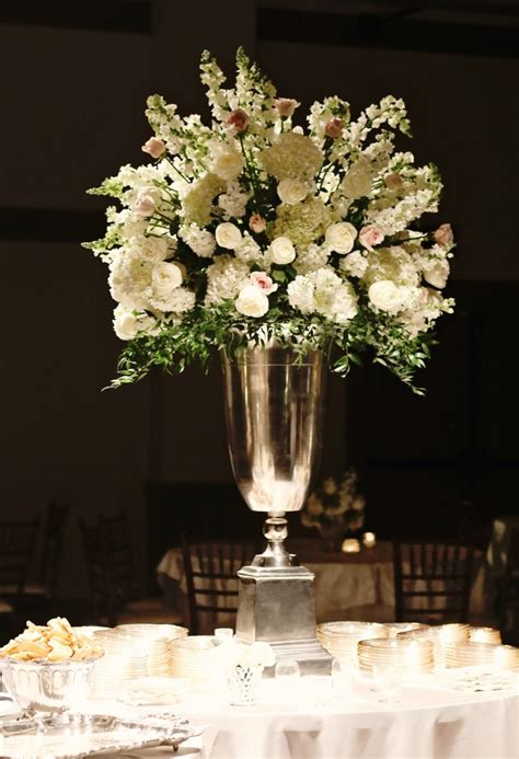 Blush Roses White Roses Hydrangea And Snapdragon White Vase Centerpiece