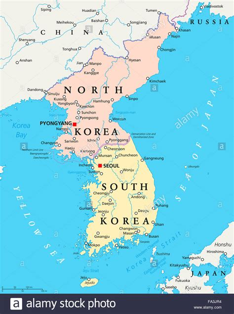 map of korea korea south korea political map with capitals