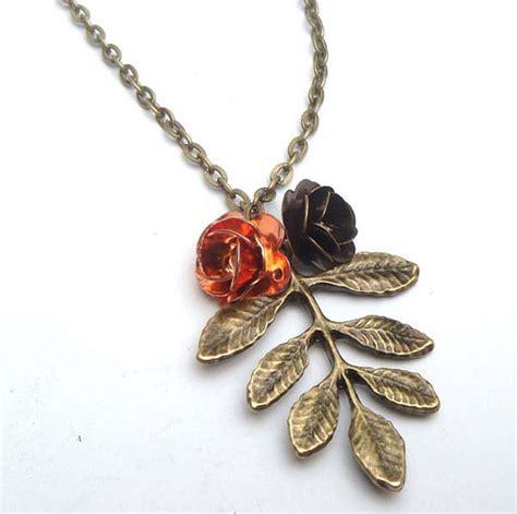 Leaf Flower Necklace antiqued brass leaf flower necklace necklaces pendants