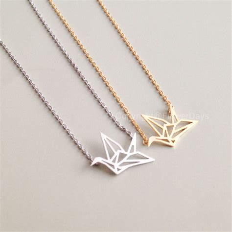 Origami Necklace - origami crane necklace in gold on luulla