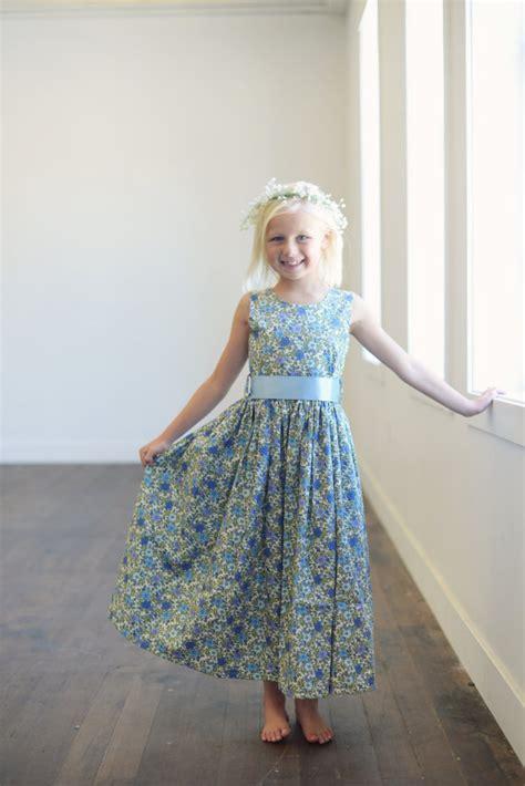 Bj 073 Flower Dress blue floral print flower dress