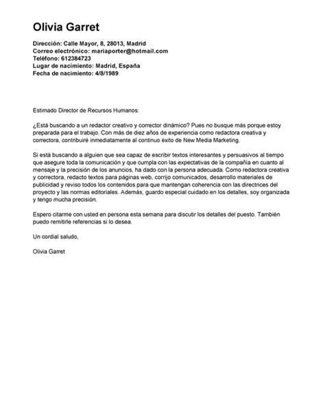 Modelos Carta Presentacion Curriculum Email Modelo De Carta De Presentaci 243 N Redactor Creativo Redactor Creativo Ejemplo Livecareer