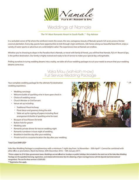 Wedding Brochure 2016 by Namale Wedding Brochure May 2016 Namale Resort Spa