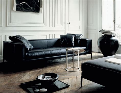 Black Leather Sofa Living Room Design by B B Italia S Gorgeous Furniture For Living Rooms