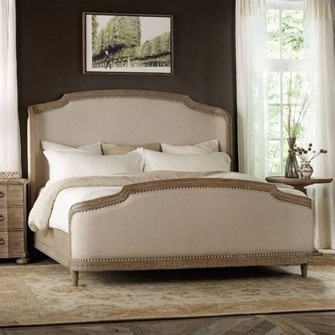 light wood bed hooker furniture corsica upholstered shelter bed in light