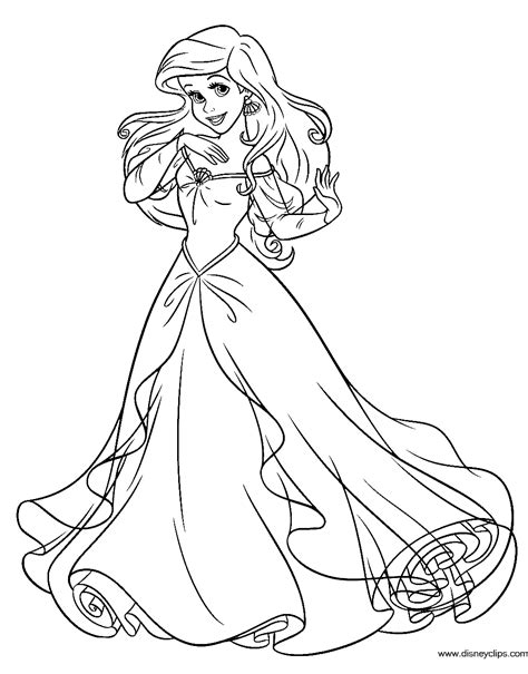 princess ariel coloring pages to print disney princess ariel in a dress coloring pages printable