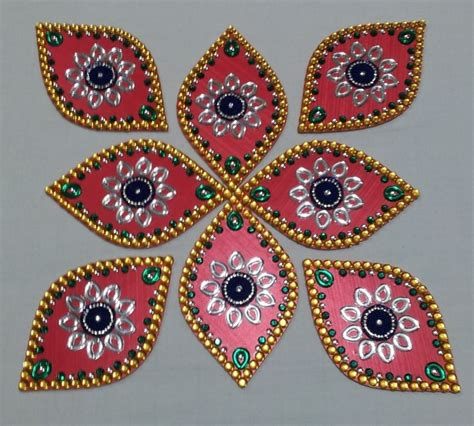 Handmade Rangoli - rangoli 8 wooden home decoration diwali decor