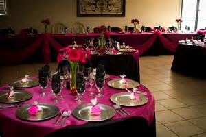 pink and black wedding decor made by megan