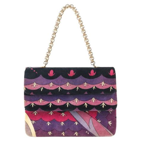 Pucci Chain Link Silk Purse by Emilio Pucci C 1970 S Purple Floral Signature Print Velvet