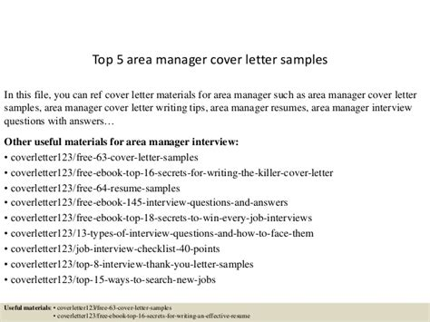 top 5 area manager cover letter sles
