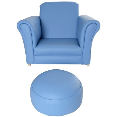 toddlers armchair childrens pu leather look rocker armchair stool blue
