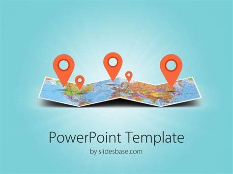 travel powerpoint templates 3d folded map travel business world map markers pin