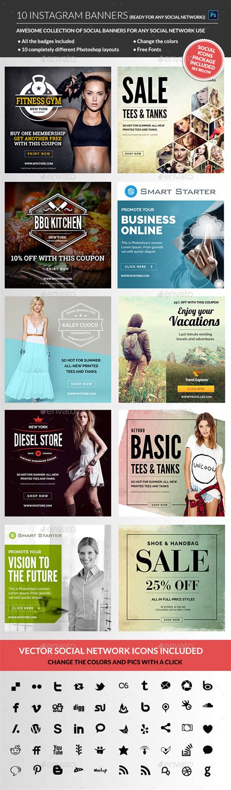 Instagram Banners Graphicriver Instagram Ad Template Psd