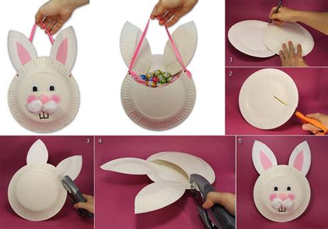 Paper Plate Easter Crafts - diy easter bunny basket from paper plate