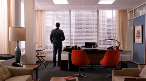 mad men furniture don draper s office the mid century modernist don draper in his office nice orange club chairs in the