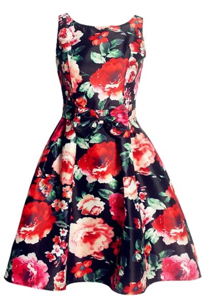 rose swing beauteous red rose print swing dress oasap com