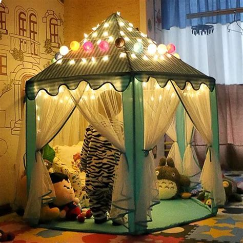 kids tent with lights portable princess castle play tent with led light children