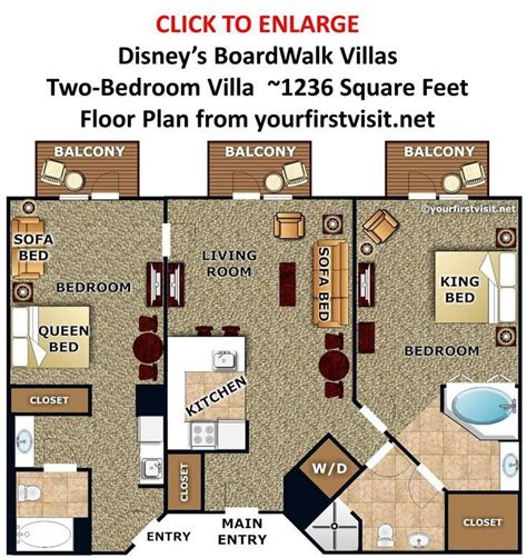 Disney Vacation Club Treehouse Villas Floor Plan - photo tour of the master bedroom and baths of a one