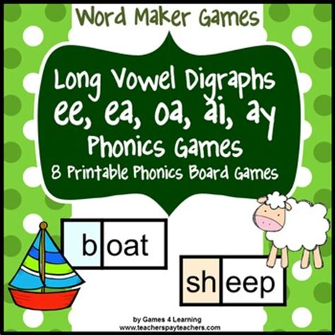 printable games for digraphs long vowel digraphs phonics games ee ea oa ai ay by games
