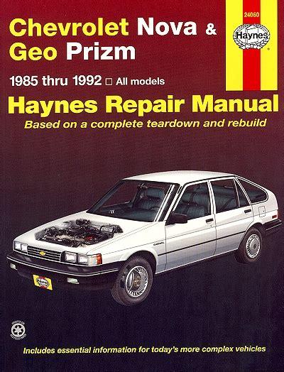 service manual how to build a 1992 geo tracker connect chevy nova geo prizm repair manual 1985 1992 haynes
