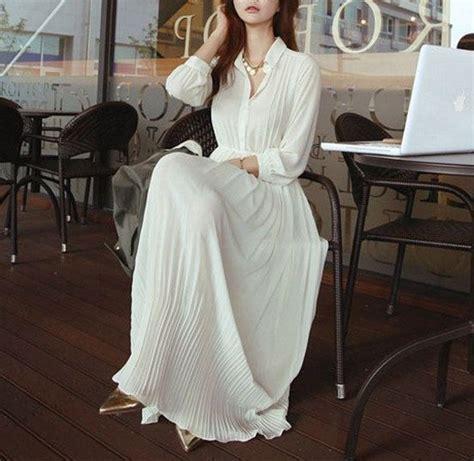 white black sleeve chiffon pleated dress