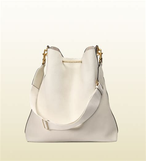 Gucci Leather G White gucci leather shoulder bag with rope drawstring closure in white for lyst