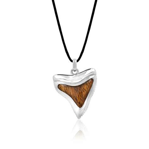 sterling silver koa wood shark tooth pendant