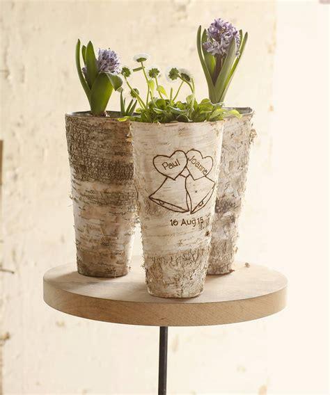 Birch Wood Vases by Personalised Wedding Bells Birch Wood Vase By Letteroom