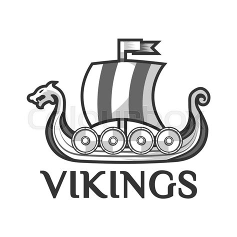 viking warship boat logo template with drakkar or drekar