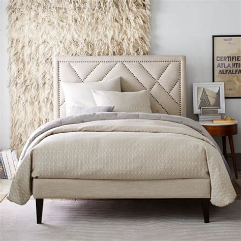 narrow headboard narrow leg upholstered bed frame linen weave west elm