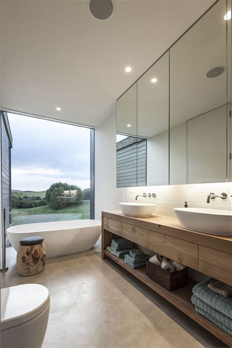 bathroom glass mirror foam road fingal residence by jam architecture