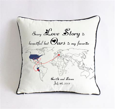 Pillow Distance by Distance Story Pillowsham World Map Pillow By