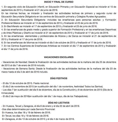 Calendario Escolar Aragon 14 15 Es Zaragoza Calendario Escolar Para Arag 243 N Curso 2015