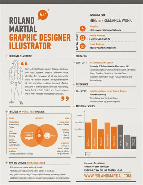 graphic design cv online 30 great exles of creative cv resume design design
