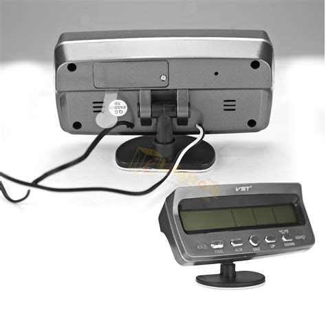 12v Car Mobil Jam Clock Thermometer Temperature Voltage Monitor 12v digital car voltage monitor battery alarm clo ck lcd