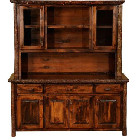 "rustic dining hutch   Rustic Hickory 75"" Buffet & Hutch   Log cabin ideas & decor   Pinterest"