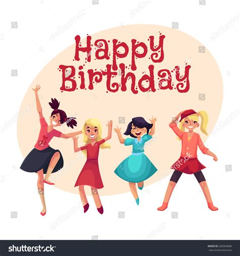 happy birthday girl design happy birthday vector greeting card poster stock vector