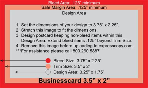 Business Cards Bleed Template by Business Card Print Specifications Expresscopy