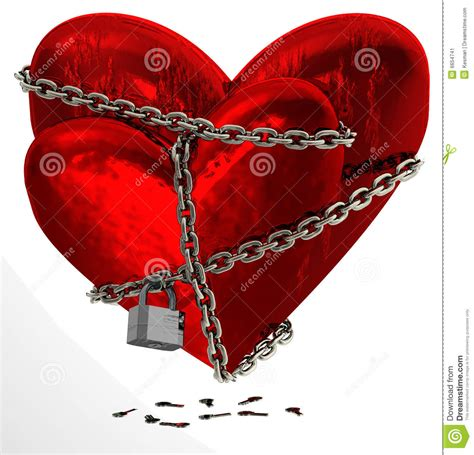two chained red hearts stock image image 6654741