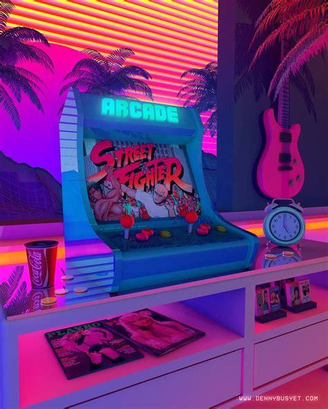 arcade dreams denny busyet retro art vaporwave art