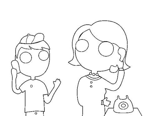 personas conversando para colorear dibujo de madre hablando por tel 233 fono para colorear