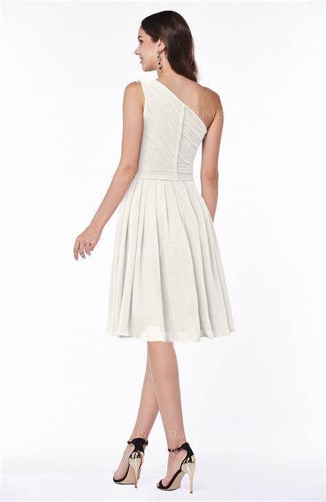 casual a line one shoulder knee length white chiffon party dress cokm14005 off white bridesmaid dress simple a line one shoulder
